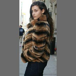 3de1736f2 Marc Kaufman Furs Jackets & Coats - Whiskey dyed Chinchilla Rex Rabbit  Jacket si